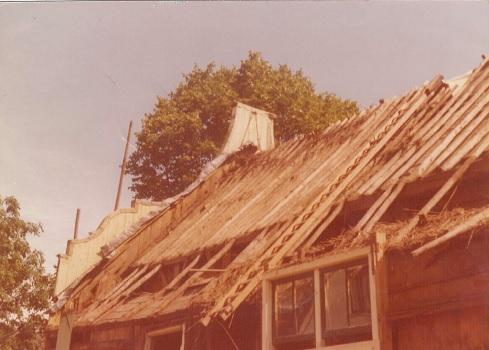 rieten dak verwijderd
